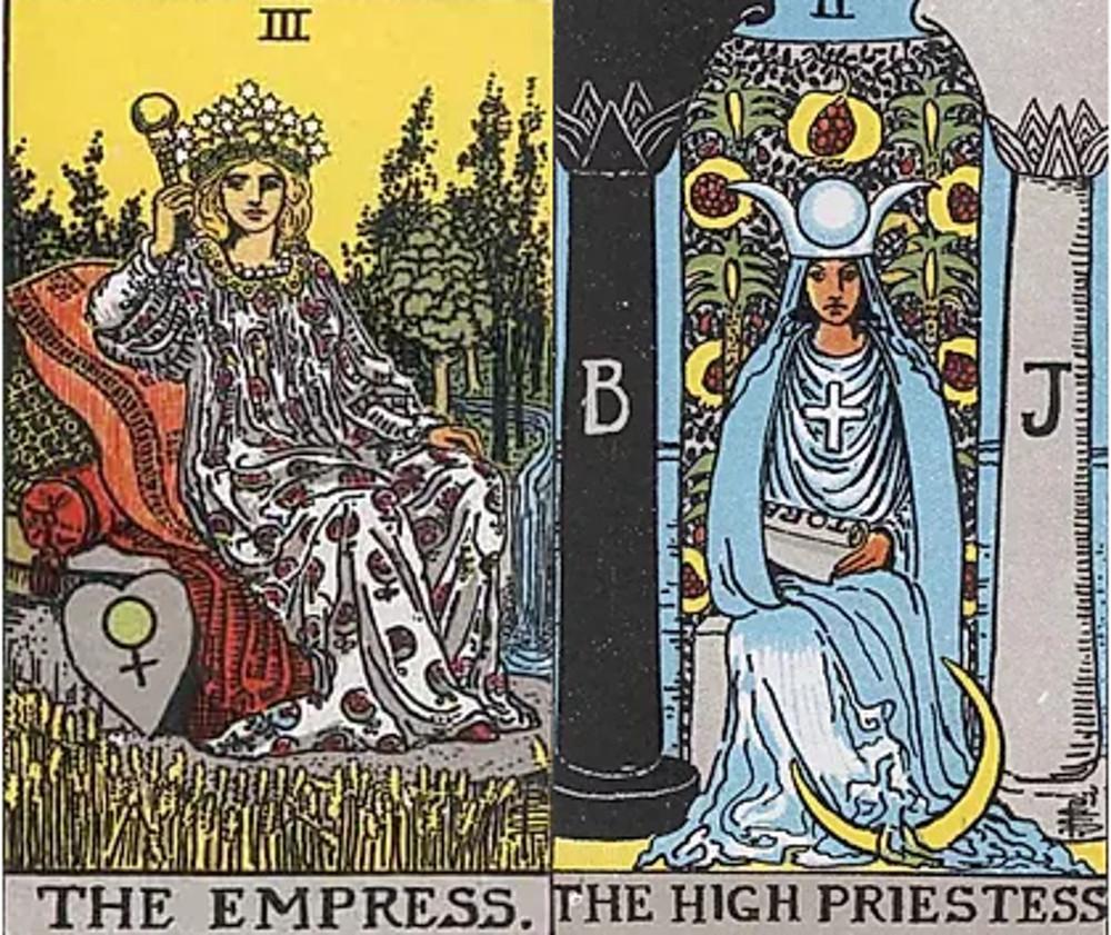 Empress and High Priestess tarot combinations