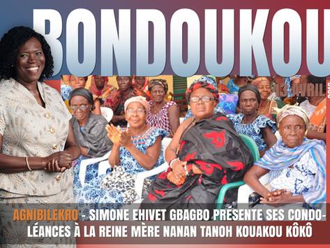AGNIBILÉKRO: SIMONE EHIVET GBAGBO PRÉSENTE SES CONDOLÉANCES À LA REINE MÈRE NANAN TANOH KOUAKOU KÔKÔ