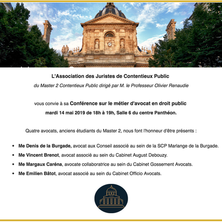 Avis aux étudiants du M1 droit public général : Conférence sur le métier d'avocat en droit public