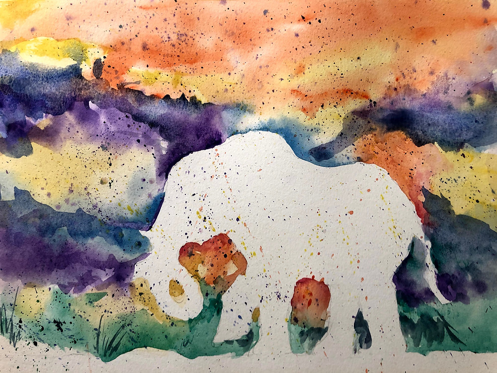 "Young African elephant at Sunset. Watercolour on paper. Approx. 9"" x 11"""