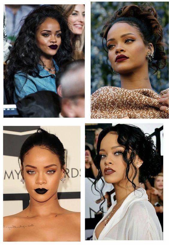 Batom escuro, Rihanna, bold lips, tendência de maquiagem 2020