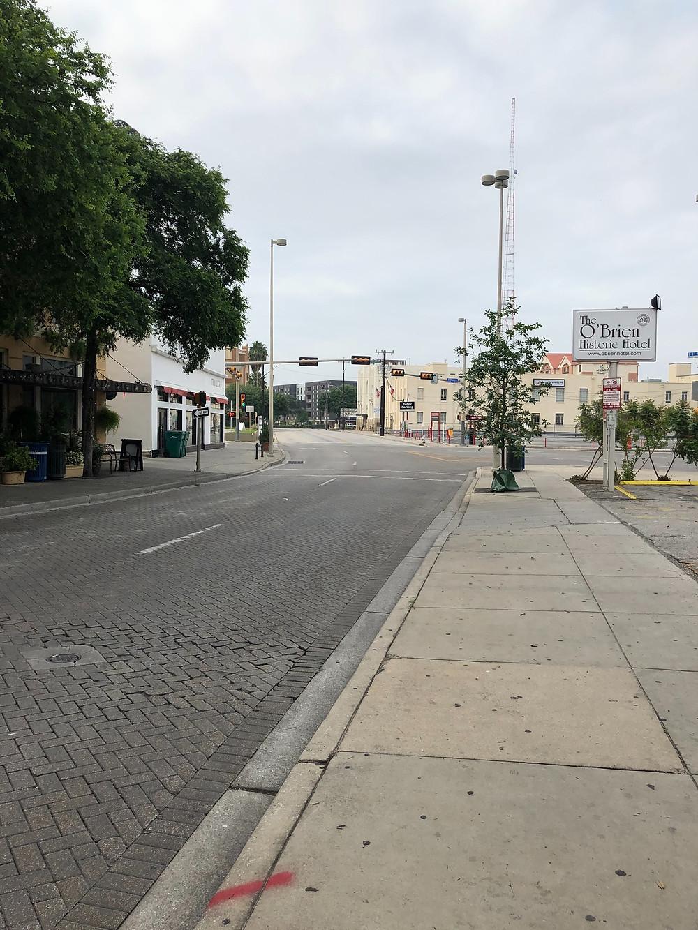 An empty Navarro Street, looking south