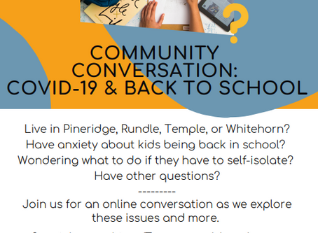 Community Conversation: COVID-19 & Back To School Oct 1