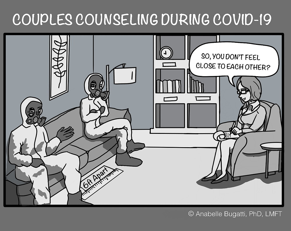 A Cartoon By Anabelle Bugatti PhD About Therapy And Closeness During Social Distancing