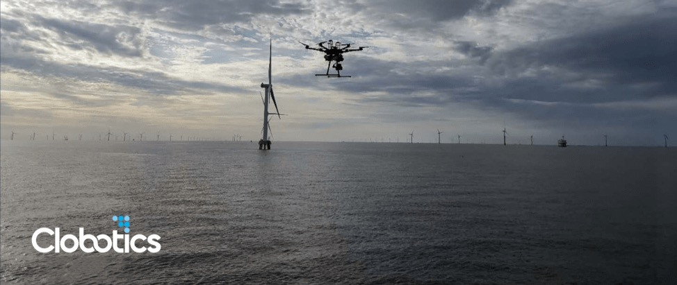 Clobotics wind turbine drone inspection service in action - Osinto New Aerospace Intelligence-as-a-Service