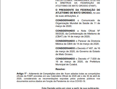 CORRIDAS DE RUA CANCELADAS EM VIRTUDES AO COVID-19