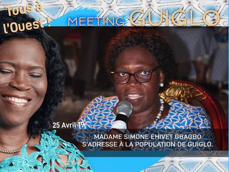 MEETING DE GUIGLO :MADAME SIMONE EHIVET GBAGBO S'ADRESSE À LA POPULATION DE GUIGLO.