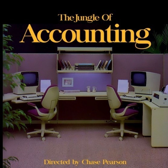Title: The Jungle of Accounting. A plain, dull office, white desks, chairs and shelves with a couple of plants.