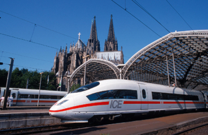ICE train leaving Cologne railway station
