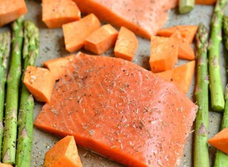 Easy One-Pan Salmon, Asparagus, & Sweet Potato