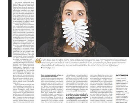 depoimento para o jornal Estado de Minas sobre a cantora Juliana Perdigão