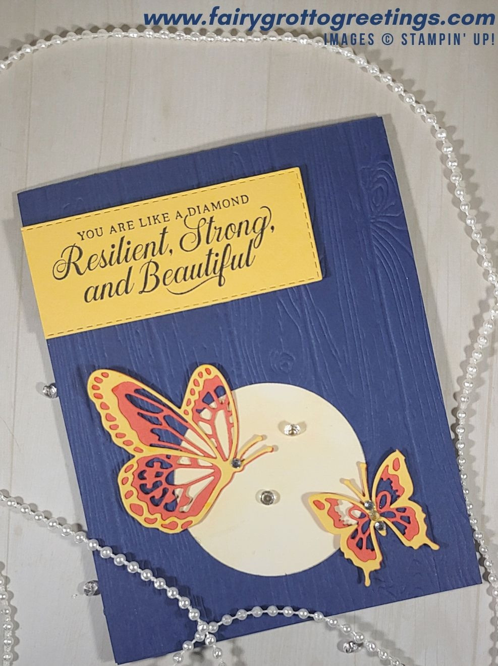 Stampin' Up card image featuring Night of Navy, Terracotta Tile and So Saffron with Butterfly Beauty dies and a sentiment from the Strong & Beautiful stamp set