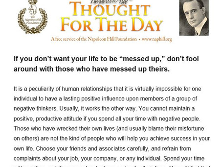 Thought of the Day - Napoleon Hill.