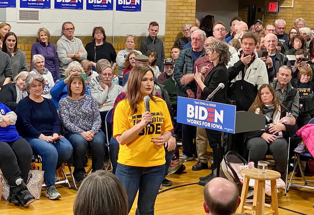 Rep. Abby Finkenauer addresses a crowd before a Joe Biden rally in Cedar Rapids.