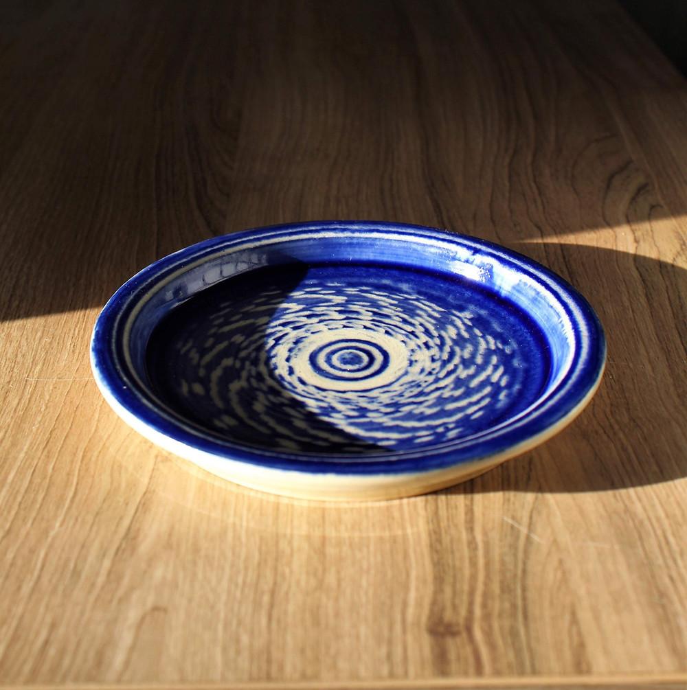 handmade ceramic pottery plate blue design