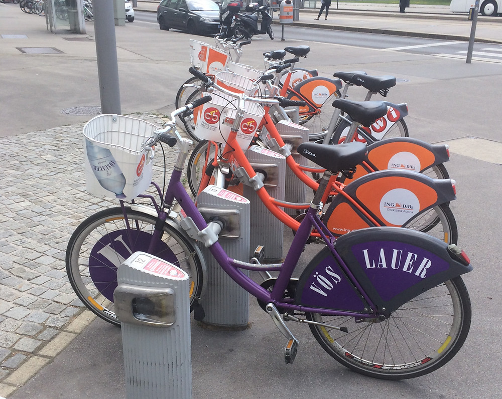 Row of Vienna city bikes parked in Austria