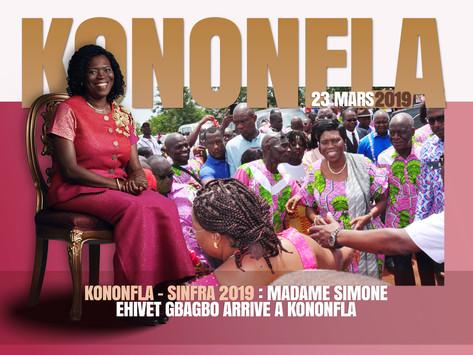 KONONFLA – SINFRA 2019 : MADAME SIMONE EHIVET GBAGBO ARRIVE A KONONFLA