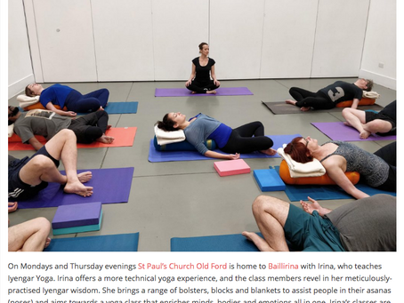 """The only Iyengar Yoga in """"Best Yoga Classes"""" in Bow/Globe Town"""