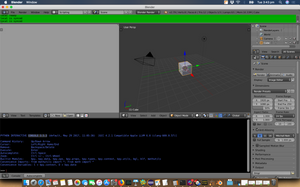 The blender UI with the scripting view visible