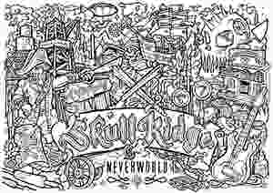 Black and white drawing that is a colouring page featuring 'Skull Ridge', a Realm found at Neverworld Festival
