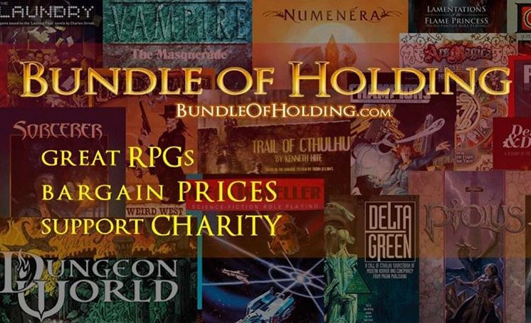 Collage of different RPG books as a background for text: Bundle of Holding. Great RPGs Bargain Prices Support Charity.