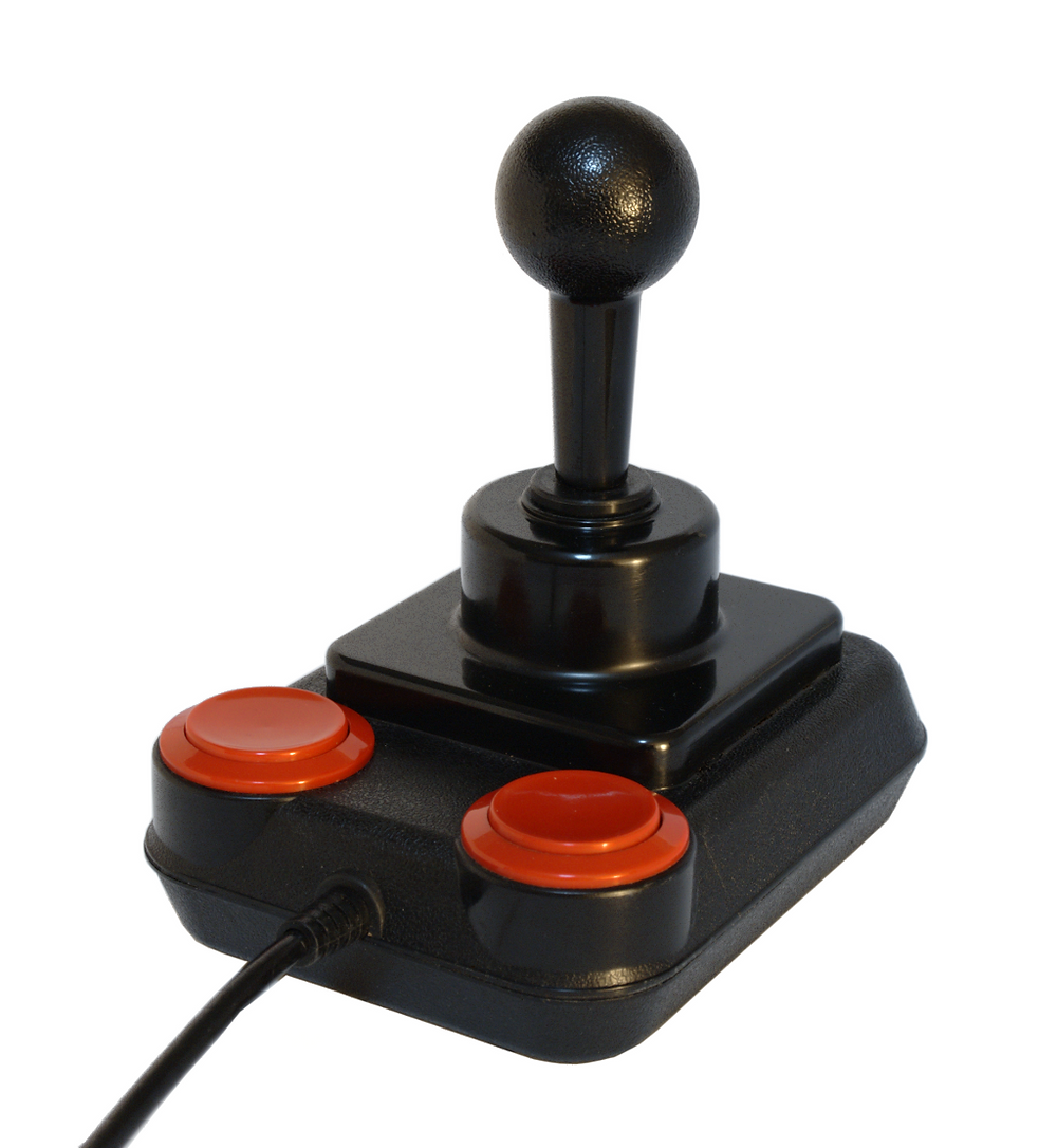Ambidextrous Quickshot joystick with duplicated buttons