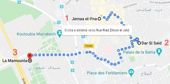 Itinerario Marrakech con Google Maps