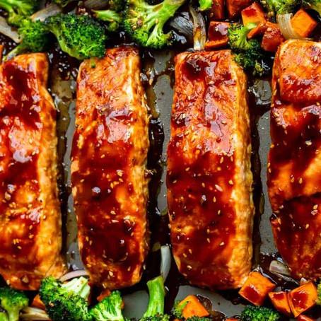Recipe:  Yummy Goodness! Baked Salmon Teriyaki with Veggies and Basmati Brown Rice