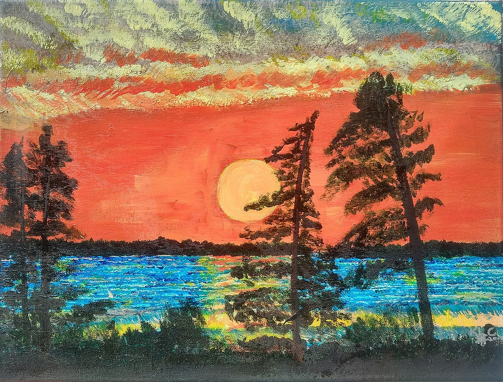 Image of a handpainted landscape. Sunset in orange with shadows of trees and grass swaying in a breeze on a backdrop of a shoreline in teal.