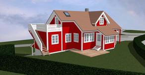 Tilbygg med takterrasse og utvendig trapp