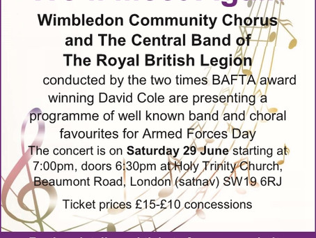 Details of the 29th June Concert: