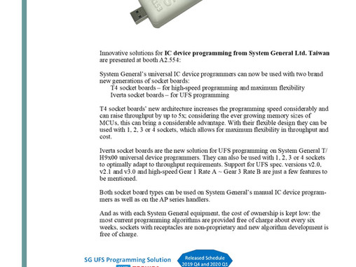 SG will on show the T4 socket board and UFS programming solution at Productronica 2019 Nov.12th-15th