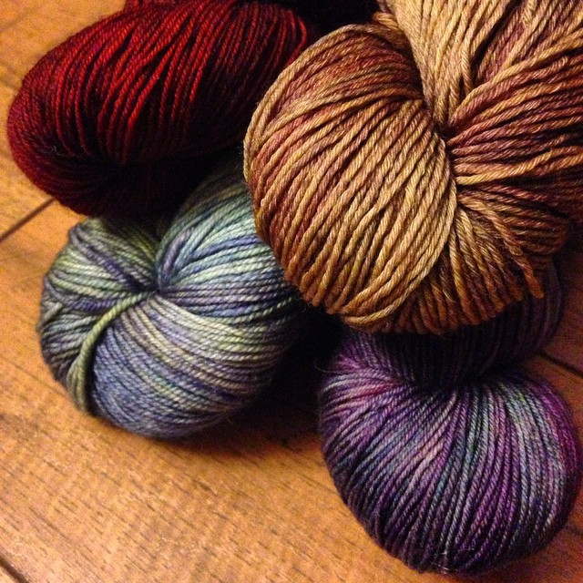 Save 20-35% off luxury yarns from amazing indie dyers like these skeins from Dream in Color!