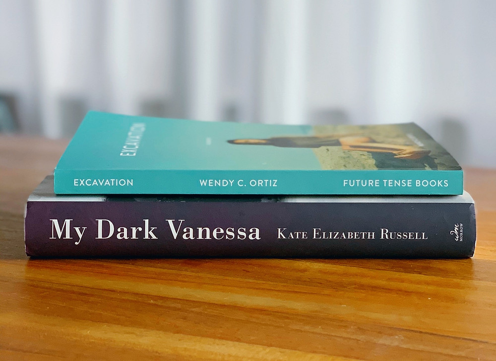 My Dark Vanessa by Kate Elizabeth Russell (William Morrow) & Excavation by Wendy C. Ortiz (Future Tense Books). Photograph by Jessica Maria.
