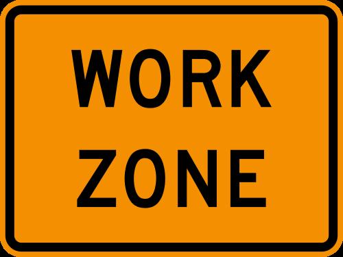 yellow work zone caution sign graphic