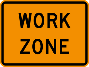 yellow work zone caution sign graphic