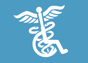 a logo of the caduceus merged with the disability logo