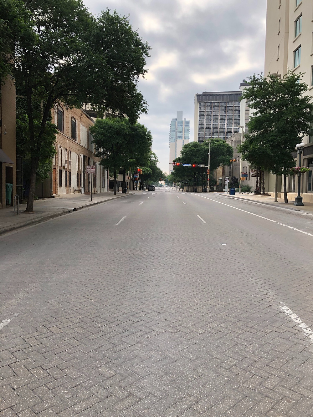 A view down an empty Losoya Street