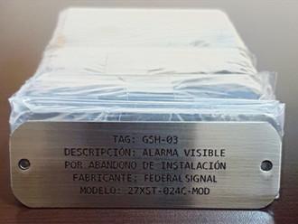 Placa identificación de datos acero inox. 316.