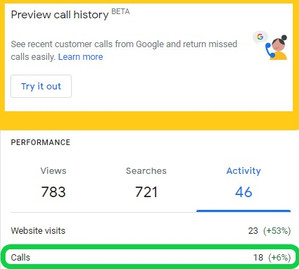 Google My Business -Preview Call History