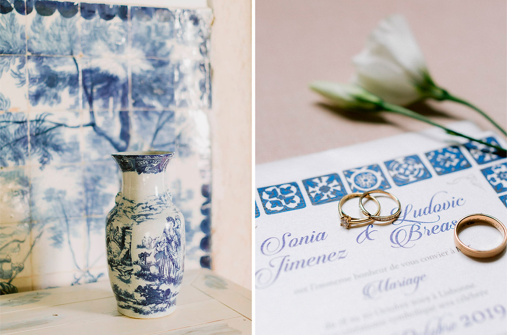 Classic Blue in the portuguese tiles as the main color for wedding details at Quinta do Torneiro Portugal