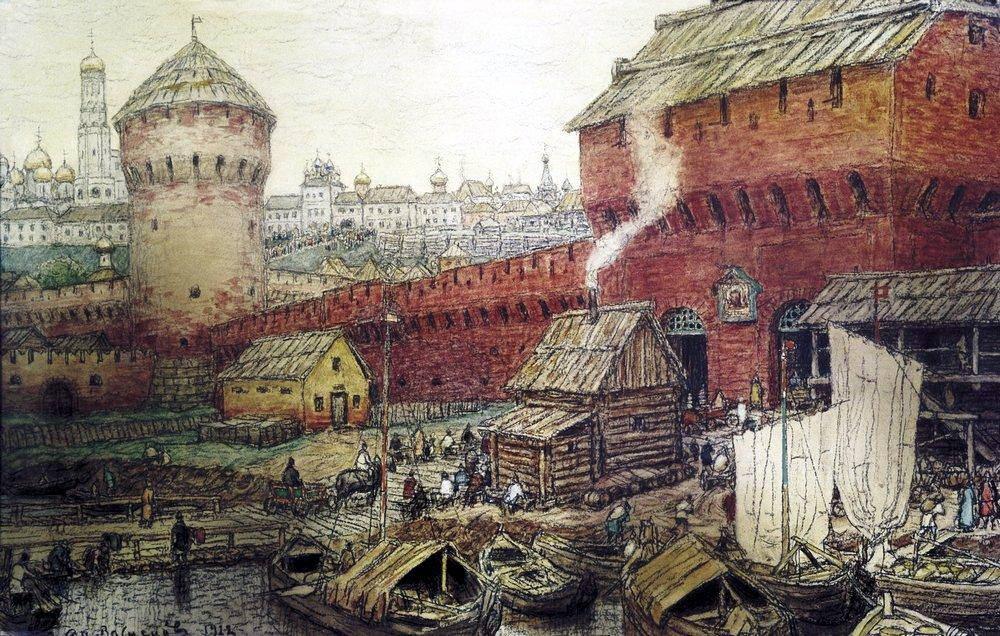 Спасские Водяные ворота Китай-города в XVII веке (1922 год)