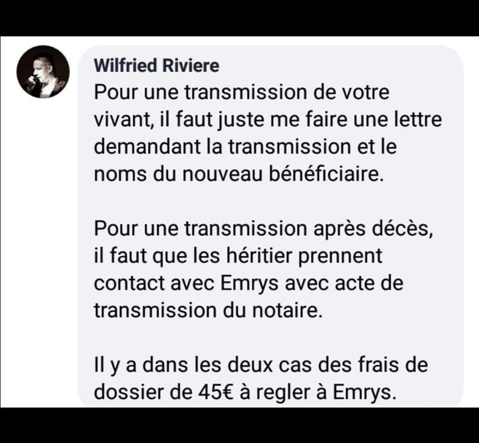 transmission compte Emrys la Carte
