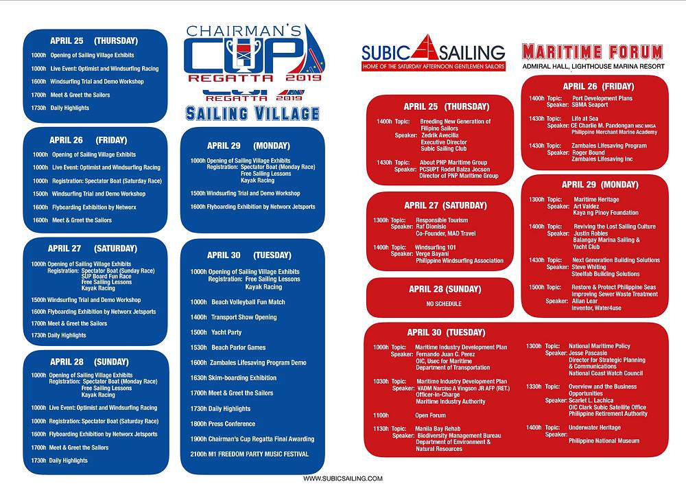 Chairman's Cup Regatta Schedule of Activities