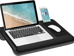 LapGear Home Office Pro Lap Desk with Wrist Rest, Mouse Pad, and Phone Holder - Black Carbon