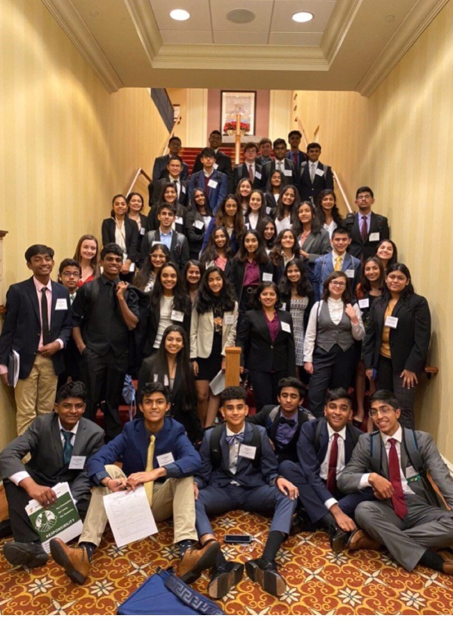 This image showcases the members of the Monroe Township Model UN delegation.