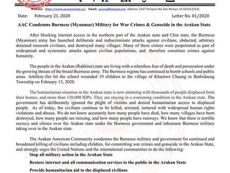 AAC Condemns Burmese (Myanmar) Military for War Crimes & Genocide in the Arakan State
