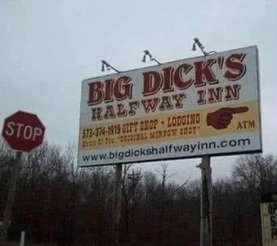 Big Dick's Halfway Inn Funny Sign