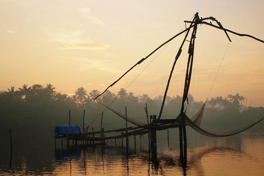 filets de pêche cherai beach Kerala Inde