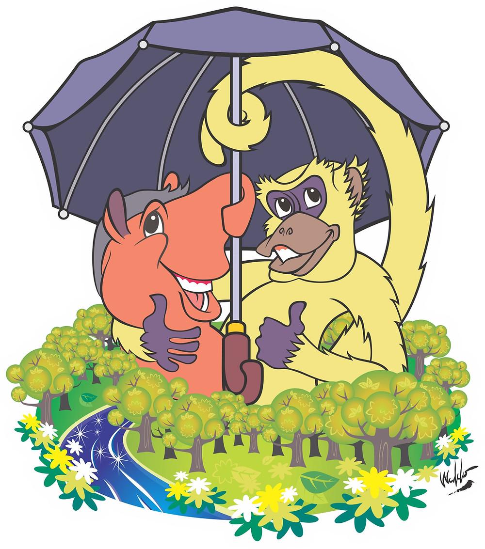 Tapyra e Murica: Os guarda-chuvas da floresta. Ilustração de Waldo Dalvi.